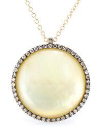 Roberto Marroni - 18kt Yellow Satinized Gold Surround Necklace With Lemon Quartz And Brown Diamonds - Lyst