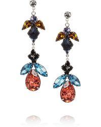 Tom Binns Faux Real Rhodium-Plated Swarovski Crystal Drop Earrings multicolor - Lyst