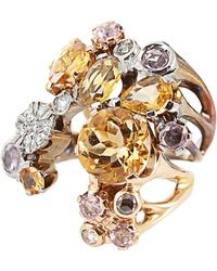 Federica Rettore - Citrine and Pink Sapphire Ombre V Ring - Lyst