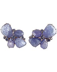 Federica Rettore - Tanzanite And Sapphire Cluster Earrings - Lyst
