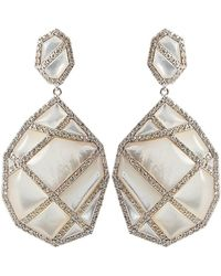 Kara Ross - Mother Of Pearl and White Sapphire Earrings - Lyst