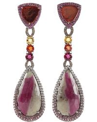 Wendy Yue - Sapphire and Tourmaline Drop Earrings - Lyst