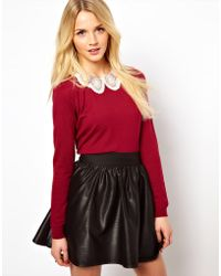 ASOS Collection Asos Embroidered Lace Collar Jumper - Lyst