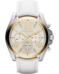 Michael Kors Ladies Goldtone White Leather Quartz Watch - Lyst