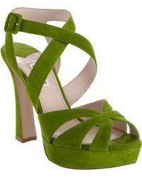Miu Miu Criss Cross Ankle Strap Sandal green - Lyst