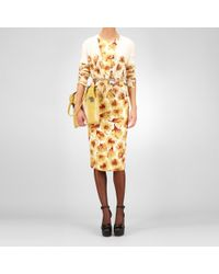 Bottega Veneta Platre Duchesse Appia Crepe Tulip Print Dress - Lyst