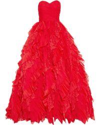 Oscar de la Renta Lace and Tulle Gown - Lyst