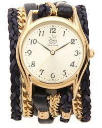 Sara Designs - Flat Leather Chain Wrap Watch - Lyst