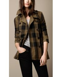 Burberry Brit Short Cotton Linen Check Trench Coat - Lyst