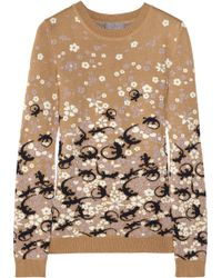 Mulberry Intarsia Cottonblend Sweater - Lyst