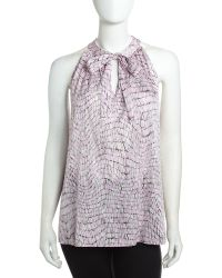 Lafayette 148 New York Printed Tieneck Blouse - Lyst