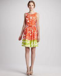 Trina Turk Belted Floral-Print Color-Block Dress - Lyst