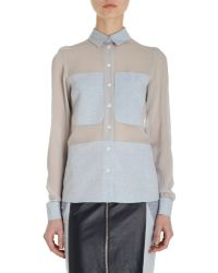 Timo Weiland - Chiffon And Chambray Blouse - Lyst