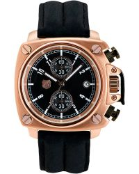 Andrew Marc - Mens Rose Gold Chronograph Watch with Black Leather Strap - Lyst
