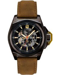 Andrew Marc - Mens Automatic Watch with Brown Leather Strap - Lyst
