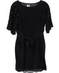 Antik Batik Boat Neckline Black Short Dress - Lyst