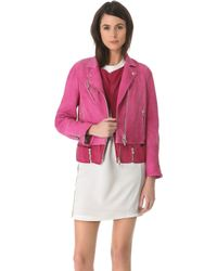 3.1 Phillip Lim Watercolor Nubuck Biker Jacket - Lyst