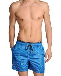 Calvin Klein Blue Swimming Trunks - Lyst