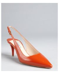Prada Clementine Textured Patent Leather Slingback Pumps - Lyst