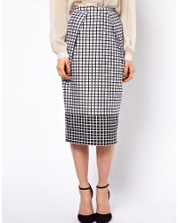 ASOS Collection | Pencil Skirt in Monochrome Check | Lyst