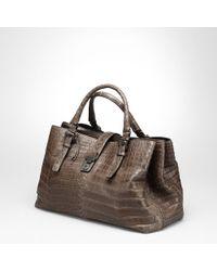 Bottega Veneta Edoardo Soft Crocodile Fume Roma Bag - Lyst