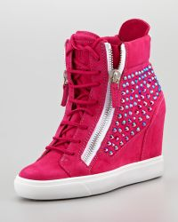 Giuseppe Zanotti Hightop Crystalpanel Wedge Sneaker - Lyst
