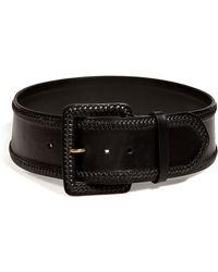 Ralph Lauren Collection - Black Braided Trim Leather Belt - Lyst