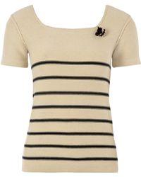 Sonia by Sonia Rykiel Cream Striped Bee Knit Jumper - Lyst