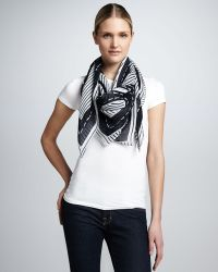 Tory Burch Striped Logo Square Scarf - Lyst
