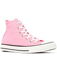 Converse The Chuck Taylor All Star Hi Sneaker in Washed Neon Pink - Lyst