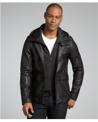 SOIA & KYO - Black Leather Asa Hooded Zip Front Jacket - Lyst