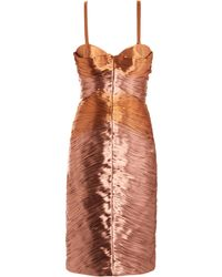 Burberry Prorsum Metallic Lamé Pleated Bustier Dress - Lyst