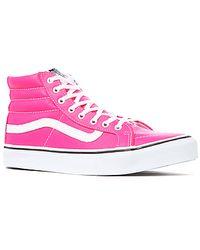 Vans The Sk8hi Slim Sneaker in Pink Neon Leather - Lyst