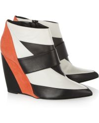 Pierre Hardy - Leather and Suede Wedge Ankle Boots - Lyst