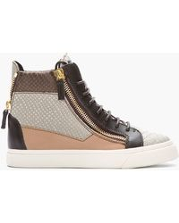 Giuseppe Zanotti Brown and Grey Leather and Snakeskin London Sneakers - Lyst