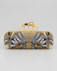 Alexander McQueen Dragonflyjacquard Knuckle Box Clutch Bag gold - Lyst