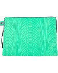Lanvin Vivid Green Matt Python Folding Pouch green - Lyst