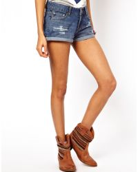 ASOS Collection Denim Shorts with Rips in Indigo - Lyst