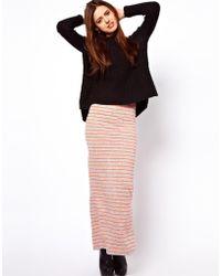 ASOS Collection Maxi Skirt with Neon Stripe orange - Lyst