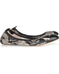 Bloch - Megan Snake Print Leather Ballet Flats - Lyst