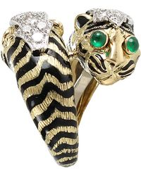 David Webb | Double Tiger Ring with Emeralds and Diamonds | Lyst