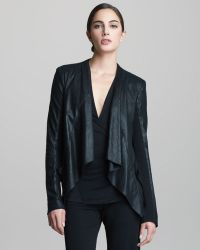 Donna Karan New York Lambskin Leather Drape Jacket - Lyst