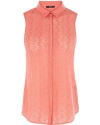 Oasis Lace Tie Front Shirt orange - Lyst