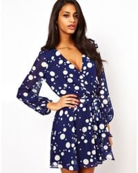 ASOS Collection |  Wrap Dress in Spot Print | Lyst
