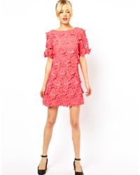 ASOS Collection |  Shift Dress with 3D Flower Lace | Lyst