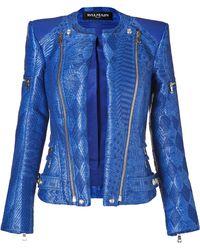 Balmain Gipsy Blue Woven Biker Jacket blue - Lyst