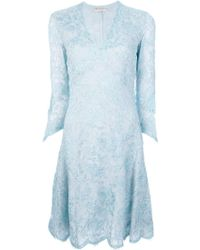 Emilio Pucci Silk Lace Dress blue - Lyst
