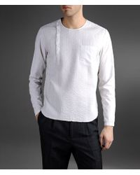 Emporio Armani Slim Fit Cotton Shirt with Pleats - Lyst