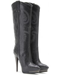Lanvin Embossed Leather Platform Boots - Lyst