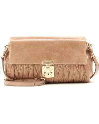 Miu Miu Matelassé Glazed Leather Shoulder Bag - Lyst